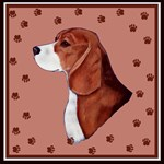 Beagle with pawprints