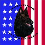 Belgian Sheepdog & Flag