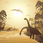 Dinosaurs on Jurassic Landscape