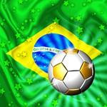 Brazil Flag Gold Green and Soccer Ball