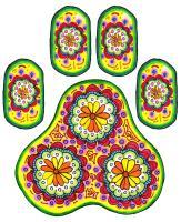 colorful pawprint design