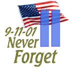 9/11 Never Forget (with Flag and Buildings)