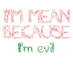 I'm mean because I'm evil