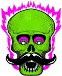 Hipster Mustache Flaming Skull