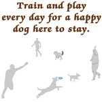 Train & Play with Your Dog T-shirts & buttons