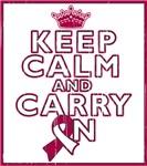 Throat Cancer Keep Calm Carry On Shirts