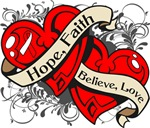 Oral Cancer Hope Faith Dual Hearts Shirts