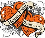 Multiple Sclerosis Hope Faith Dual  Hearts Shirts