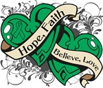 Liver Cancer Hope Faith Dual Hearts Shirts