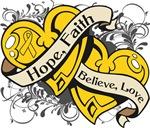 Childhood Cancer Hope Faith Dual Hearts Shirts