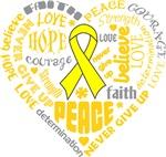 Testicular Cancer Heart Words Shirts