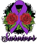 Fibromyalgia Survivor Rose Tattoo Shirts