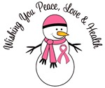 Christmas Snowman Breast Cancer Cards & Gifts