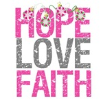 Hope Love Faith Pink Ribbon X-Mas Cards (4)