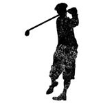Distressed Golfer Silhouette