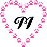 Monograms Inside Pink Paw Heart