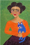 Frida and Blue Cat