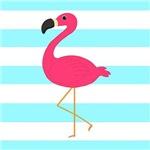 Pink Flamingo on Teal Stripes