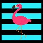 Pink Flamingo Teal Stripes