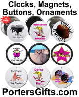 Clocks, Magnets, Buttons, Mousepads, Ornaments etc