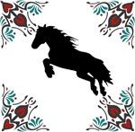 Wild Rearing Black Mustang Horse
