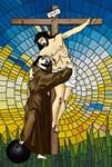 St.Francis Embraces Jesus on Cross #2