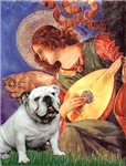 ANGEL WITH MANDOLIN<br>& White English Bulldog