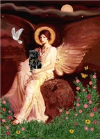 ANGEL SEATED ON A ROCK<br>& Black Pug