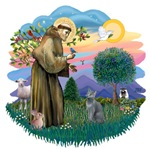 St. Francis (ff) with<br>a Russian Blue Cat