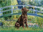 LILY POND BRIDGE<br>& Chocolate Labrador