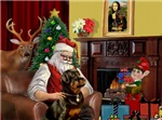 SANTA AT HOME<br>With Rottweiler (#4)