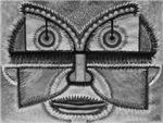 Folk Art Mask in B&W