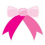 Cute pink bow with cutout lines