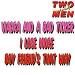 TWO and HALF MEN Viagra and a bad ticker joke