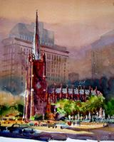New York Churches in Watercolor