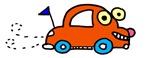 Happy orange car