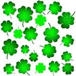 Stylized Lucky Four Leaf Clovers