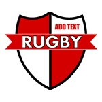 Rugby Shield White Red Personalize