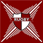 Rugby Shield Maroon White Stripes