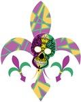 Mardi Gras Fleur de lis Skull