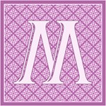 Pretty Purple Damask Monogram Totebags