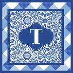 Indigo Blue and White Monogrammed Totes