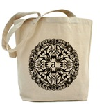Stylish black and white monogrammed look tote