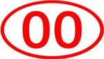Number Ovals - 00 to 49 (Red)
