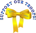 Emblem Yellow Ribbon - Bow - Support Our Troops