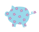 Blue and Purple Flower Pig