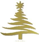Stencil Christmas Tree Gold