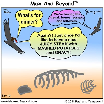 """Cartoon: Vultures and """"What's for Dinner?"""" (V2.0)"""