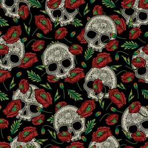 Skulls And Poppies Faux Stitch