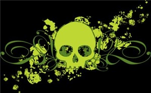 Green Skull With Spatters And Swirls